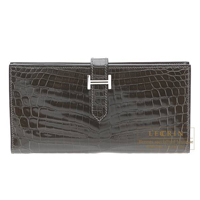 Hermes Bearn Soufflet Graphite Niloticus crocodile skin Silver hardware
