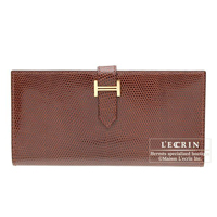Hermes Bearn bi-fold wallet Etrusque Lizard skin Gold hardware