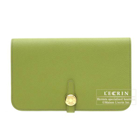 Hermes Dogon GM Anis green Togo leather Gold hardware