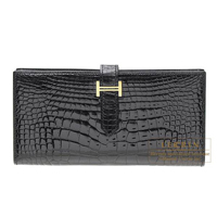 Hermes Bearn Soufflet Black Alligator crocodile skin Gold hardware