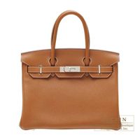 Hermes Birkin bag 30 Gold Clemence leather Silver hardware