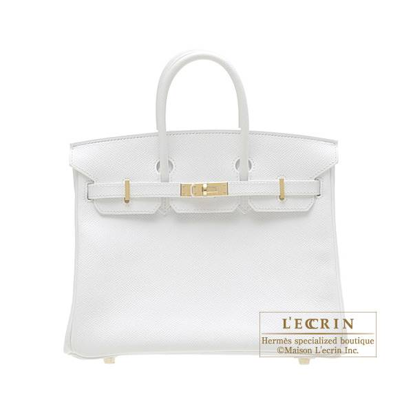 Hermes Birkin bag 25 White Epsom leather Gold hardware