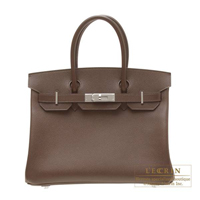 Hermes Birkin bag 30 Chocolat Epsom leather Silver hardware