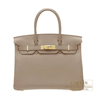 Hermes Birkin bag 30 Gris tourterelle Clemence leather Gold hardware