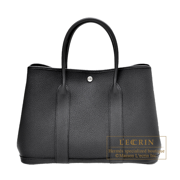 Hermes Garden Party bag PM Black Negonda leather Silver hardware
