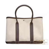 Hermes Garden Party bag PM Cocaon Cotton canvas Silver hardware
