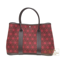 Hermes Garden Party bag PM Rouge garance Cotton canvas Silver hardware