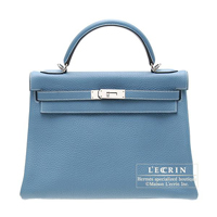 Hermes Kelly bag 32 Retourne Blue jean Clemence leather Silver hardware