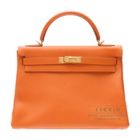 Hermes Kelly bag 32 Retourne Orange Togo leather Gold hardware