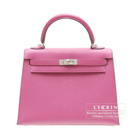 Hermes Kelly bag 25 Sellier Rose shocking Chevre myzore goatskin Silver hardware