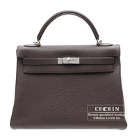 Hermes Kelly bag 32 Retourne Chocolat Clemence leather Silver hardware