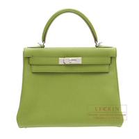 Hermes Kelly bag 28 Retourne Anis green Togo leather Silver hardware