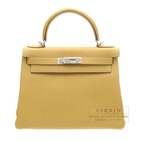 Hermes Kelly bag 28 Retourne Curry Clemence leather Silver hardware
