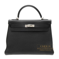 Hermes Kelly bag 32 Retourne Black Clemence leather Silver hardware