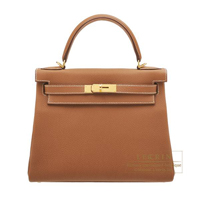 Hermes Kelly bag 28 Retourne Gold Togo leather Gold hardware