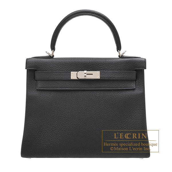 Hermes Kelly bag 28 Retourne Black Togo leather Silver hardware