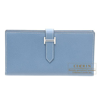 Hermes Bearn Soufflet Blue jean Epsom leather Silver hardware