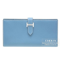Hermes Bearn bi-fold wallet Blue jean Epsom leather Silver hardware
