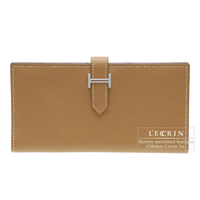 Hermes Bearn bi-fold wallet Natural Epsom leather Silver hardware