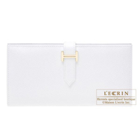 Hermes Bearn bi-fold wallet White Epsom leather Gold hardware