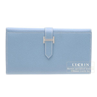 Hermes Bearn tri-fold wallet Blue jean Epsom leather Silver hardware