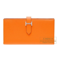 Hermes Bearn Soufflet Orange Epsom leather Silver hardware
