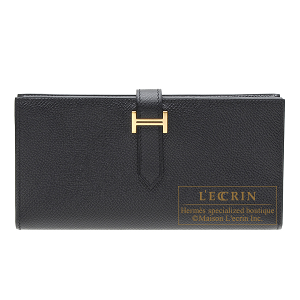 Hermes Bearn Soufflet Black Epsom leather Gold hardware