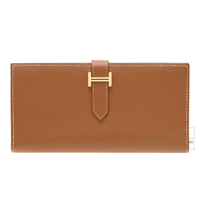 Hermes Bearn bi-fold wallet Gold Epsom leather Gold hardware