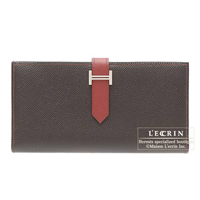Hermes Bearn Soufflet Bi-color Chocolat/Rouge garance Epsom leather Silver hardware