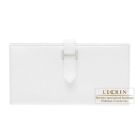 Hermes Bearn Soufflet White Epsom leather Silver hardware