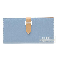 Hermes Bearn bi-fold wallet Bi-color  Blue jean/Natural Epsom leather Silver hardware