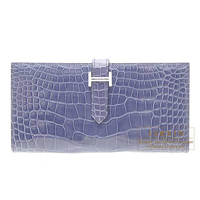 Hermes Bearn Soufflet Blue brighton Alligator crocodile skin Silver hardware