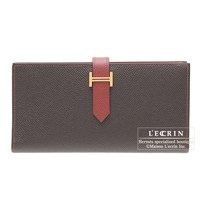 Hermes Bearn Soufflet Bi-color Chocolat/Rouge garance Epsom leather Gold hardware
