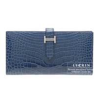 Hermes Bearn Soufflet Blue roy Alligator crocodile skin Silver hardware