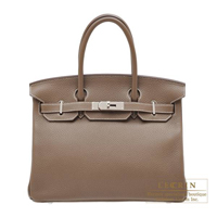 Hermes Birkin bag 30 Etoupe grey Clemence leather Silver hardware