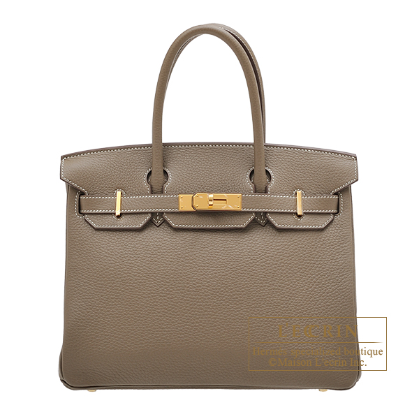 Hermes Birkin bag 30 Etoupe grey Clemence leather Gold hardware