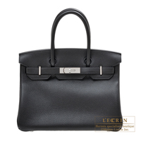Hermes Birkin bag 30 Black Clemence leather Silver hardware