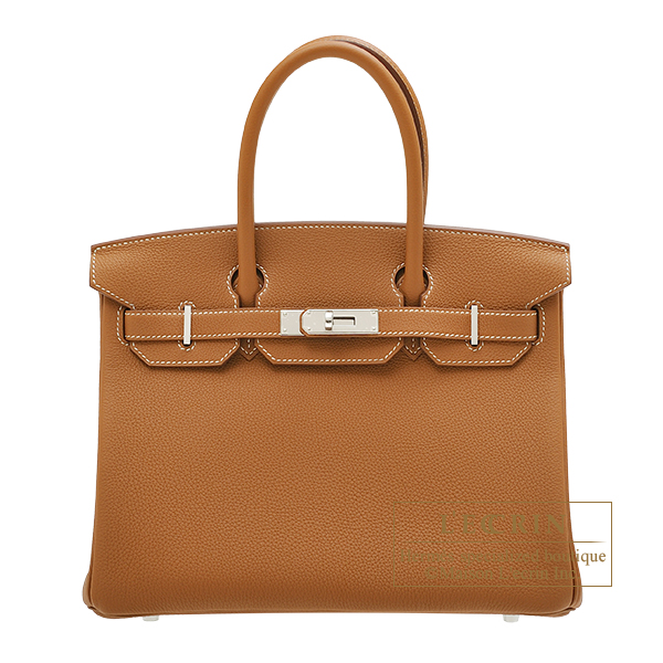 Birkin bag 30 Gold Togo leather Silver hardware