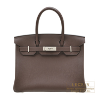 Hermes Birkin bag 30 Chocolat Togo leather Silver hardware