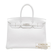 Hermes Birkin bag 35 White Clemence leather Silver hardware