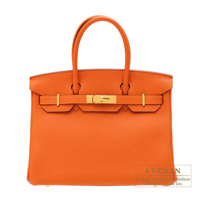 Hermes Birkin bag 30 Orange Togo leather Gold hardware