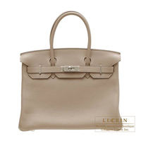 Hermes Birkin bag 30 Gris tourterelle Clemence leather Silver hardware