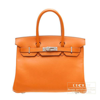 Hermes Birkin bag 30 Orange Swift leather Silver hardware