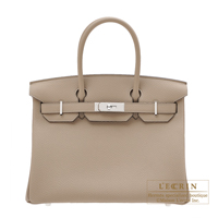 Hermes Birkin bag 30 Gris tourterelle Togo leather Silver hardware
