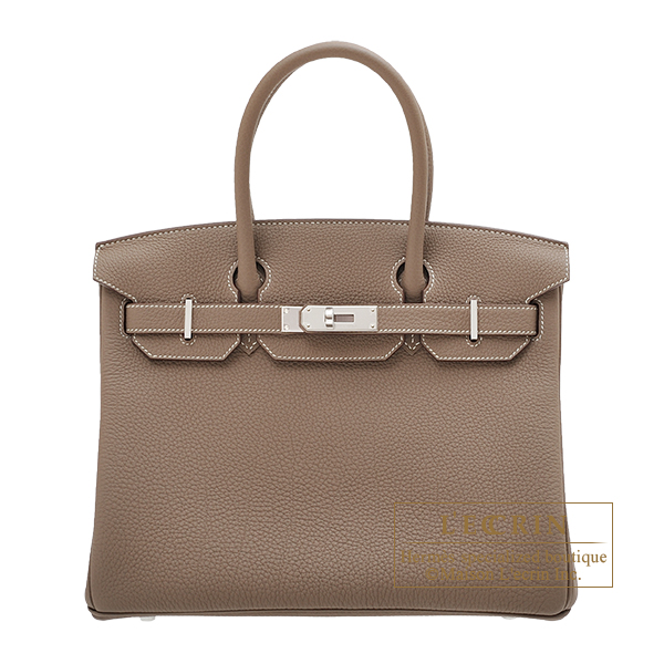 Hermes Birkin bag 30 Etoupe grey Togo leather Silver hardware