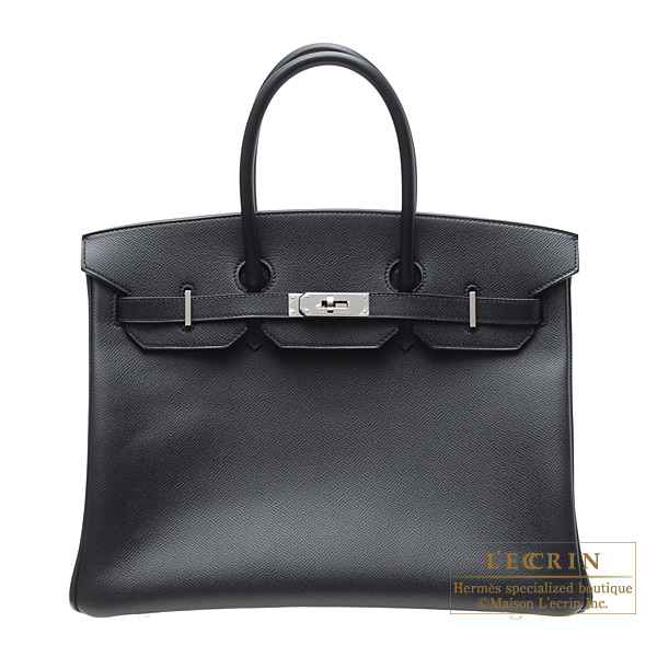 Hermes Birkin bag 35 Black Epsom leather Silver hardware