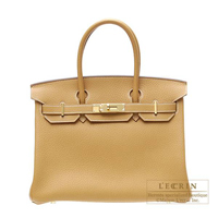 Hermes Birkin bag 30 Natural Fjord leather Gold hardware