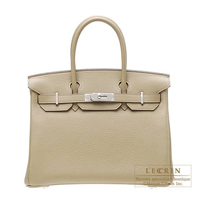 Hermes Birkin bag 30 Poussiere Clemence leather Silver hardware