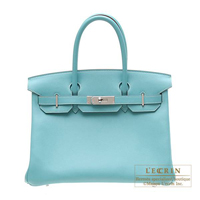 Hermes Birkin bag 30 Lagon Swift leather Silver hardware