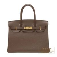 Hermes Birkin bag 30 Chocolat Togo leather Gold hardware